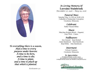 Lorraine Stainbrook Obituary Visitation Funeral Information