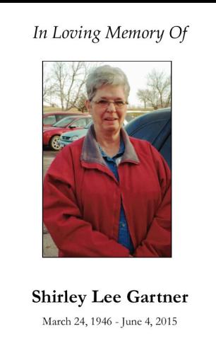 Shirley Gartner Memorial Folder
