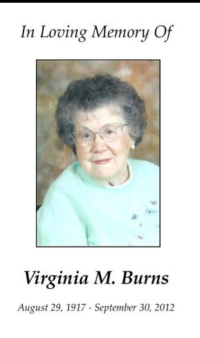 Virginia Burns Memorial Folder