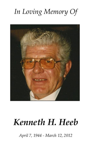 """Kenneth """"Ken"""" Heeb Memorial Folder"""