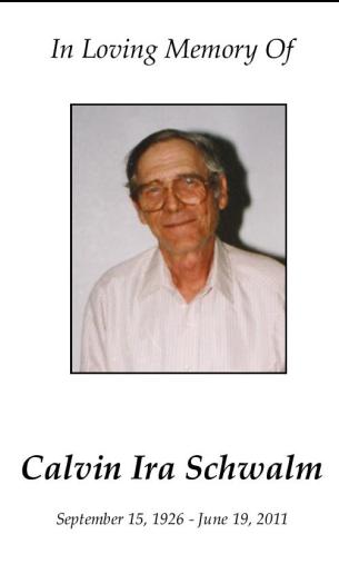 Calvin Schwalm Memorial Folder