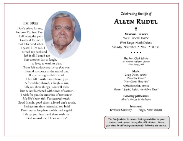 Allen Rudel Obituary West Fargo North Dakota Tributes Com