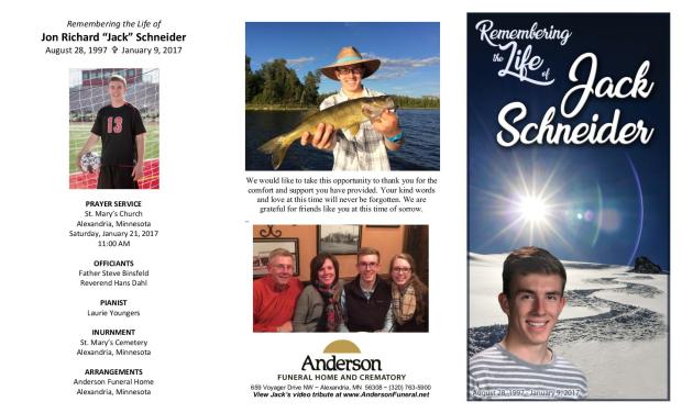 Jack Schneider Memorial Folder