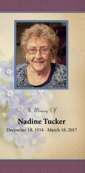 Nadine  Tucker Memorial Folder