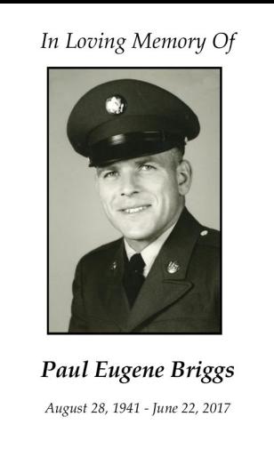 Paul Briggs Memorial Folder