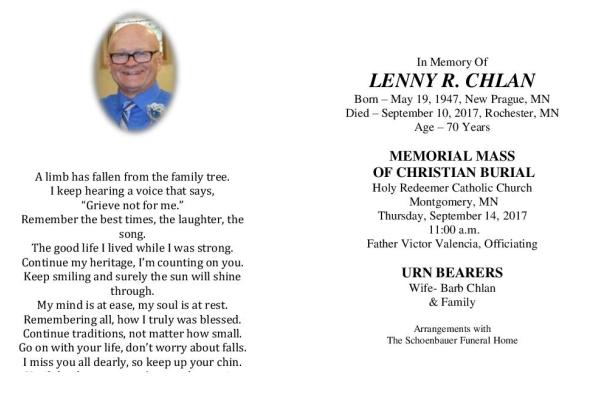 Lenny Chlan Memorial Folder