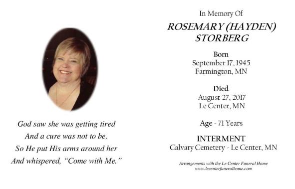 Rosemary Storberg Memorial Folder