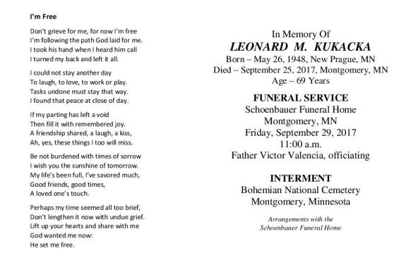 Leonard Kukacka Memorial Folder