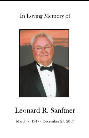 Leonard R.  Sanftner Memorial Folder