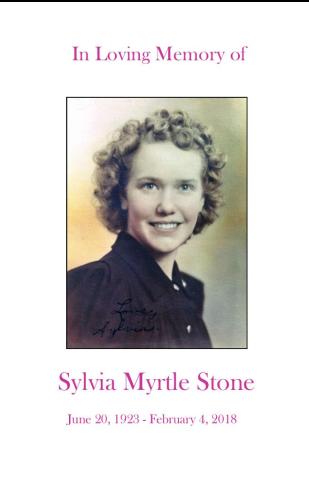 Sylvia Stone Memorial Folder