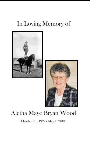Aletha Maye  Bryan Wood Memorial Folder