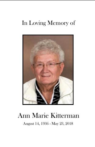 Ann Kitterman Memorial Folder