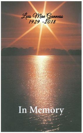 Lois Gunness Memorial Folder