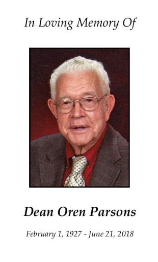 Dean Parsons Memorial Folder