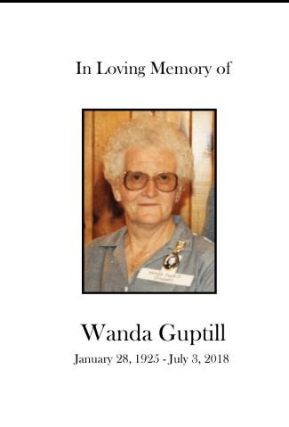 Wanda Guptill Memorial Folder