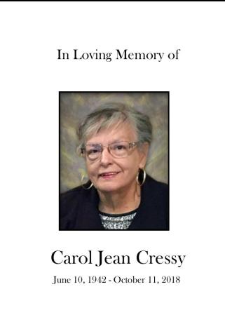 Carol Cressy Memorial Folder