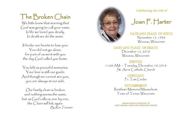 Joan Harter Memorial Folder