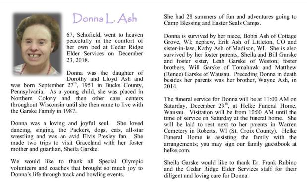 Donna Ash Memorial Folder