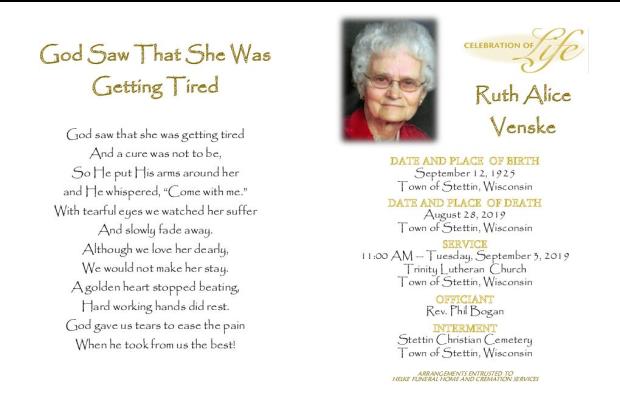 Ruth Venske Memorial Folder