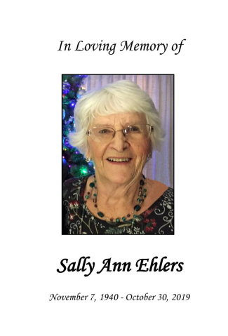 Sally Ehlers Memorial Folder