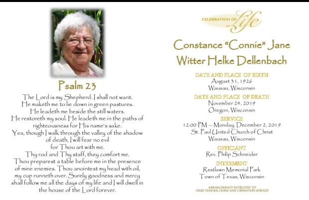 Connie Dellenbach Memorial Folder