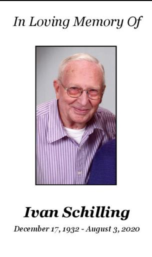 Ivan  Schilling Memorial Folder