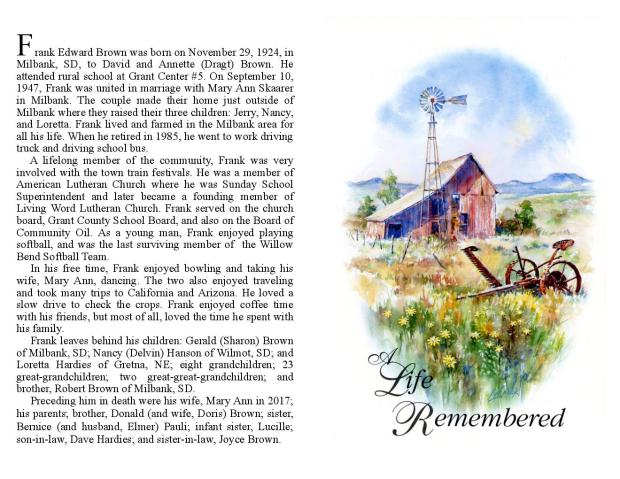 Frank Brown Memorial Folder
