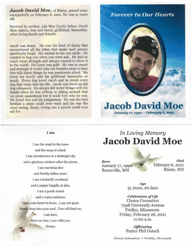 Jacob Moe Memorial Folder