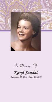 Karyl  Sandal Funeral Memorial Folder